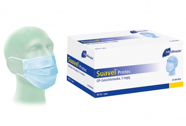 Mundschutz / Op-Maske / Suavel® Protec 3-Lagig mit CE (50 Stück)